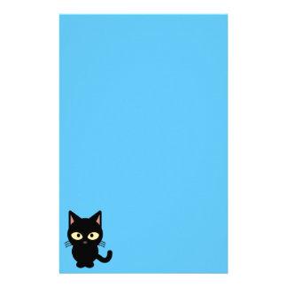 Cute black cat cartoon custom stationery