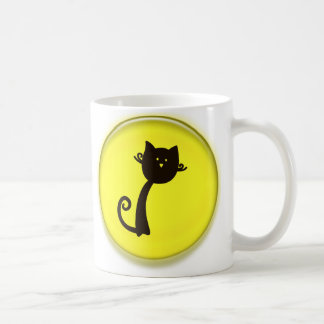 Cute Black Cat Cartoon in Yellow 3D Circle Design Coffee Mug