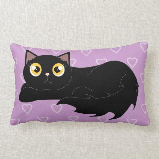 Cute Black Cat Cartoon Sleepy Kitty Pillow