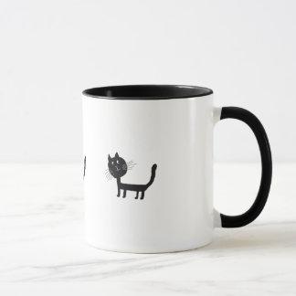 Cute black cat drawing mug