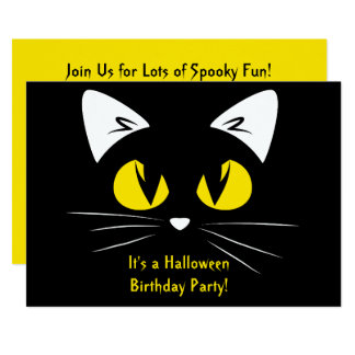 Cute Black Cat Halloween Birthday Party Yellow Card