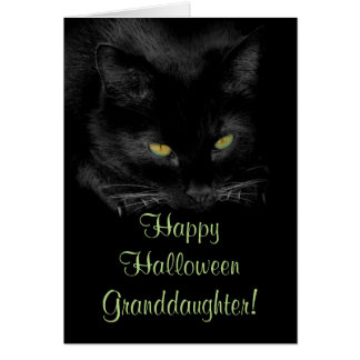 Cute Black Cat Halloween Granddaughter Card