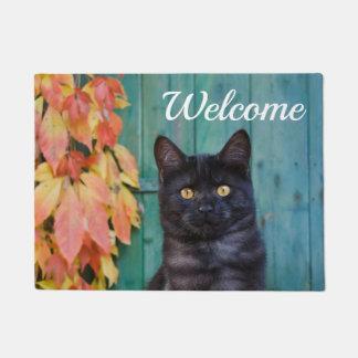 Cute Black Cat Kitten Red Leaves Blue Door Welcome Doormat
