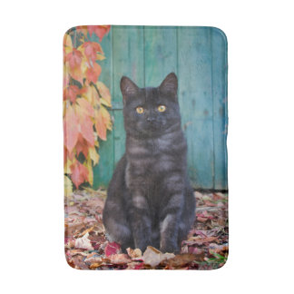Cute Black Cat Kitten with Red Leaves Blue Door - Bath Mat