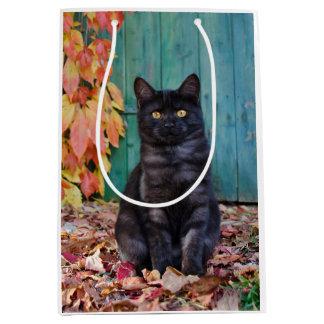 Cute Black Cat Kitten with Red Leaves Blue Door __ Medium Gift Bag