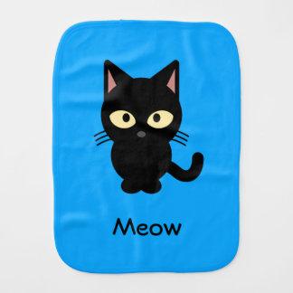 Cute black cat meow cartoon baby burp cloths