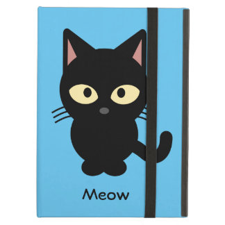 Cute black cat meow cartoon cover for iPad air