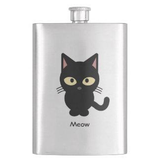 Cute black cat meow cartoon flasks