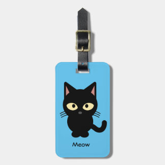 Cute black cat meow cartoon luggage tag