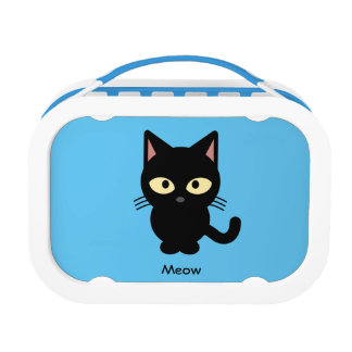 Cute black cat meow cartoon lunch box