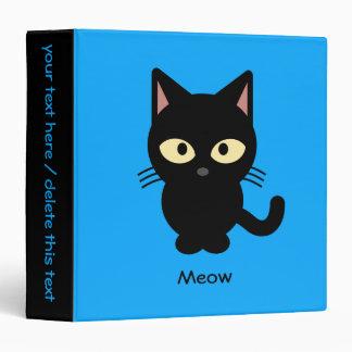 Cute black cat meow cartoon vinyl binders