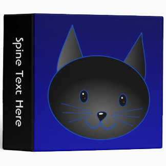 Cute Black Cat on deep midnight blue. Binder