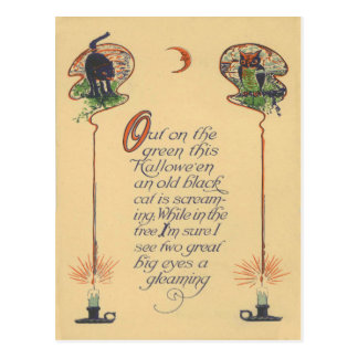 Cute Black Cat Owl Crescent Moon Candle Postcard