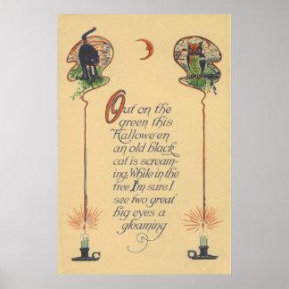 Cute Black Cat Owl Crescent Moon Candle Poster