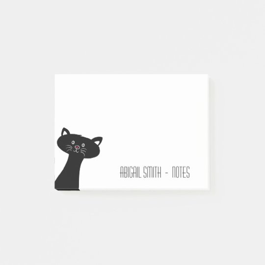 Cute Black Cat Personalized Post-it® Notes 4 x 3
