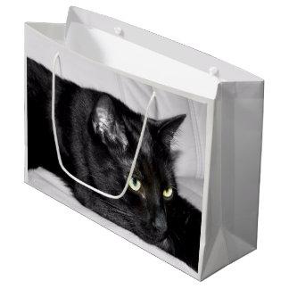 Cute Black Cat Portrait Large Gift Bag