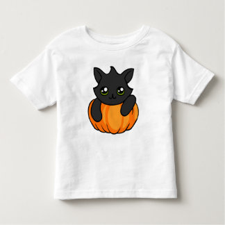 Cute Black Cat Pumpkin Halloween Toddler Shirt