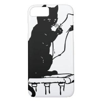 Cute Black Cat Reading a Paper Vintage iPhone 7 Case
