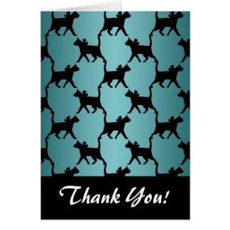 Cute Black Cat Silhouette Pattern on Teal Card