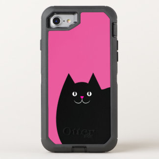 Cute Black Cat with a Bright Pink Nose OtterBox Defender iPhone 8/7 Case