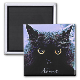 Cute Black Cat with Golden Eyes Square Magnet