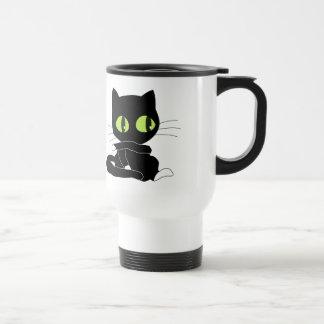 Cute Black Cat with White Paws Travel Mug