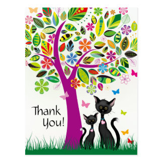 Cute Black Cats and Colorful Flower Tree Thank You Postcard