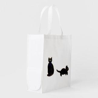 Cute Black Cats Art Grocery Bags