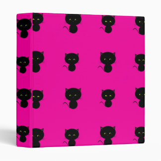 Cute Black Cats on Hot Pink Binder