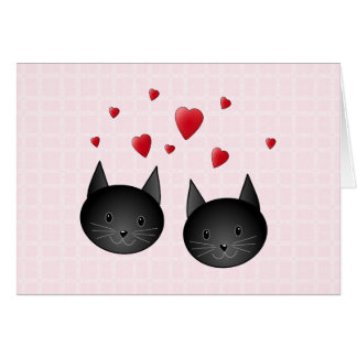 Cute Black Cats with Hearts, on pale pink. Custom Card