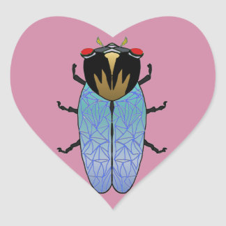 Cute Black Cicada Heart Sticker