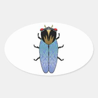 Cute Black Cicada Oval Sticker