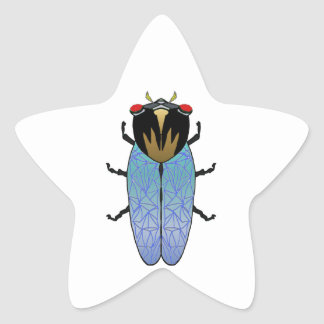 Cute Black Cicada Star Sticker