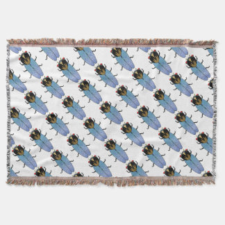Cute Black Cicada Throw Blanket