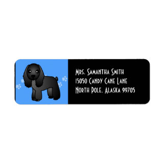 Cute Black Cocker Spaniel Cartoon Blue Return Address Label