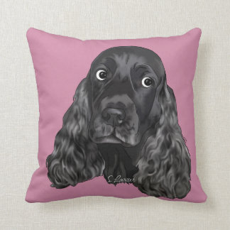 Cute Black Cocker Spaniel Dog Throw Pillow