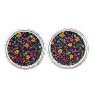 Cute black colorful abstract flowers cufflinks