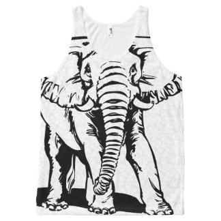 Cute Black Elephant Line Drawing 2 All-Over-Print Tank Top