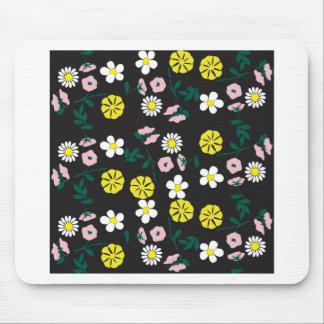 Cute black floral mouse pad