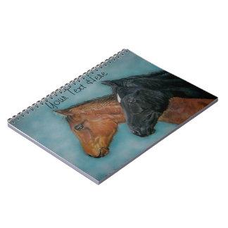 cute black foal chestnut foal colt portrait horse notebook