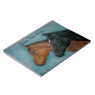 cute black foal chestnut foal colt portrait horse spiral notebooks