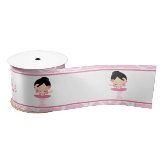 Cute Black Hair Ballerina Gift Satin Ribbon