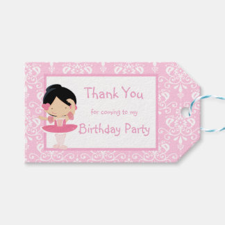 Cute Black Hair Ballerina 'Thank You' Gift Tag