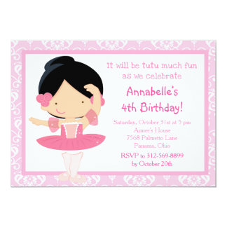 Cute Black Haired Ballerina and Pink Damask Card