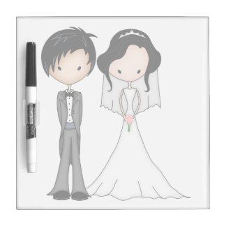 Cute Black Haired Bride and Groom Cartoon Dry-Erase Boards