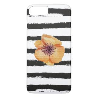 Cute Black Handmade Stripes Watercolor Flower iPhone 7 Plus Case