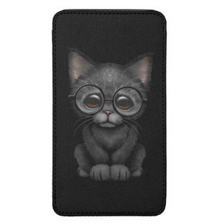 Cute Black Kitten Cat with Eye Glasses Galaxy S5 Pouch