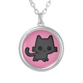 Cute Black Kitten on Pink Necklace