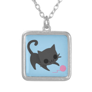 Cute Black Kitten Playing with a Ball of Yarn Custom Necklace