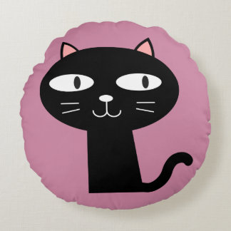 CUTE BLACK KITTY CAT PILLOWS, Pink Round Pillow